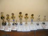 Puchary i dyplomy przygotowane dla zwycięzców Powiatowego Noworocznego Turnieju Piłki Halowej.